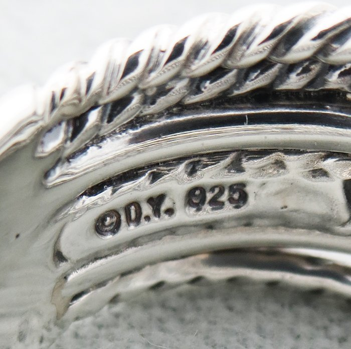 David Yurmand Sterling Silver Crossover Wide Ring with - 3