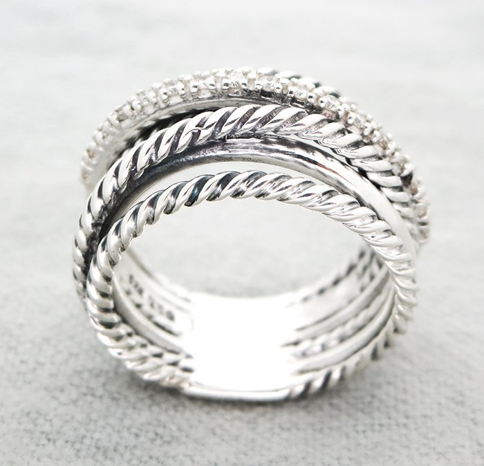 David Yurmand Sterling Silver Crossover Wide Ring with - 4