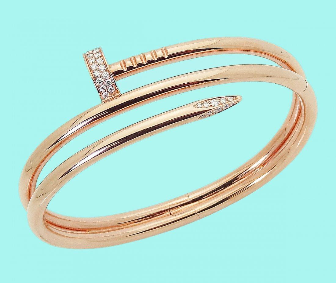 Cartier 18K Juste Un Clou Diamond Double Nail Bracelet - 2