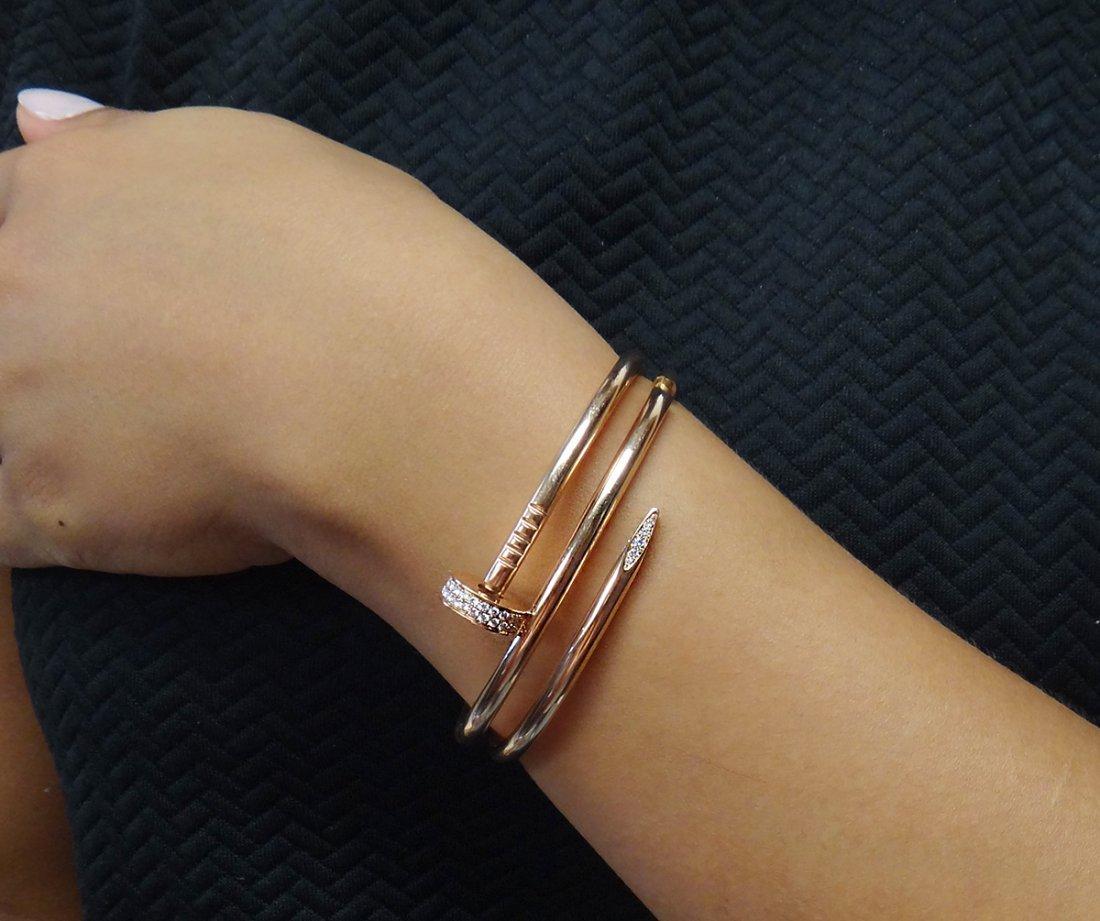 Cartier 18K Juste Un Clou Diamond Double Nail Bracelet - 5