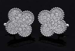 Van Cleef & Arpels 18k Alhambra Diamond Earclip Earring