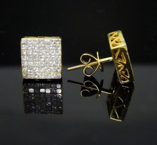14k Gold 1.00 Carat VS-SI Princess Diamond Stud Unisex