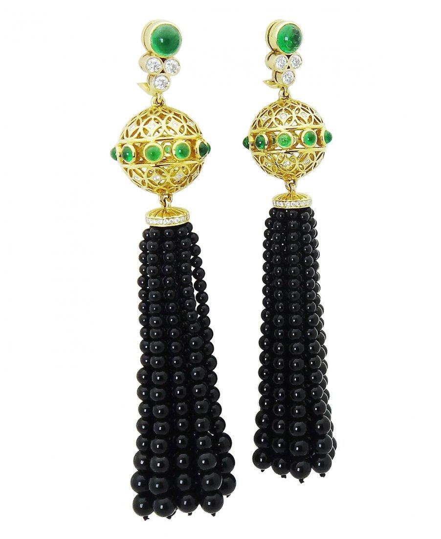 Tiffany & Co. Tassel Clip On Earrings with Black Onyx - 2