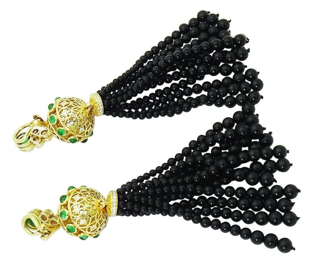 Tiffany & Co. Tassel Clip On Earrings with Black Onyx - 4