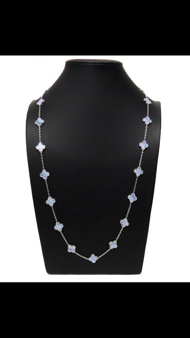 Van Cleef Chalcedony 18k  Alhambra 20 Motif Necklace