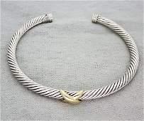 David Yurman Sterling Silver X Bracelet with Gold size