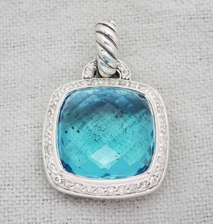 David Yurman Sterling Silver Pendant with Blue Topaz