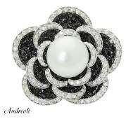 Andreoli 18k White Gold 2.80 TCW White Black Diamond &