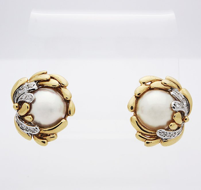 18K Gold VS Clarity G Color Diamond and Pearl Earrings