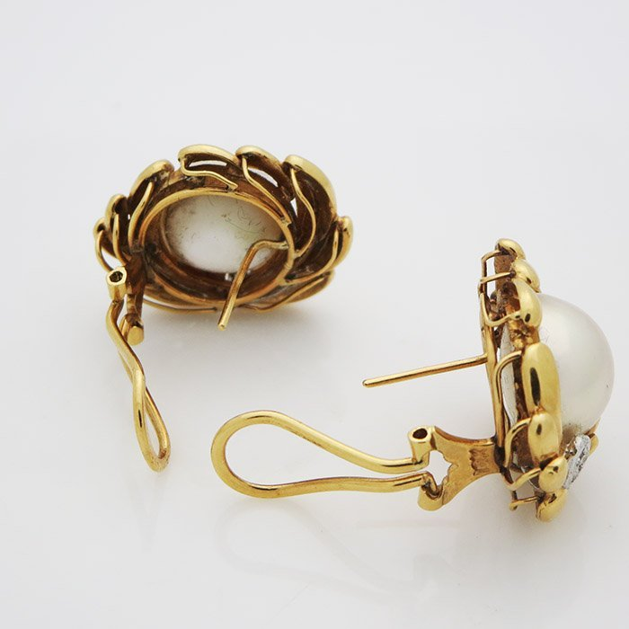 18K Gold VS Clarity G Color Diamond and Pearl Earrings - 2