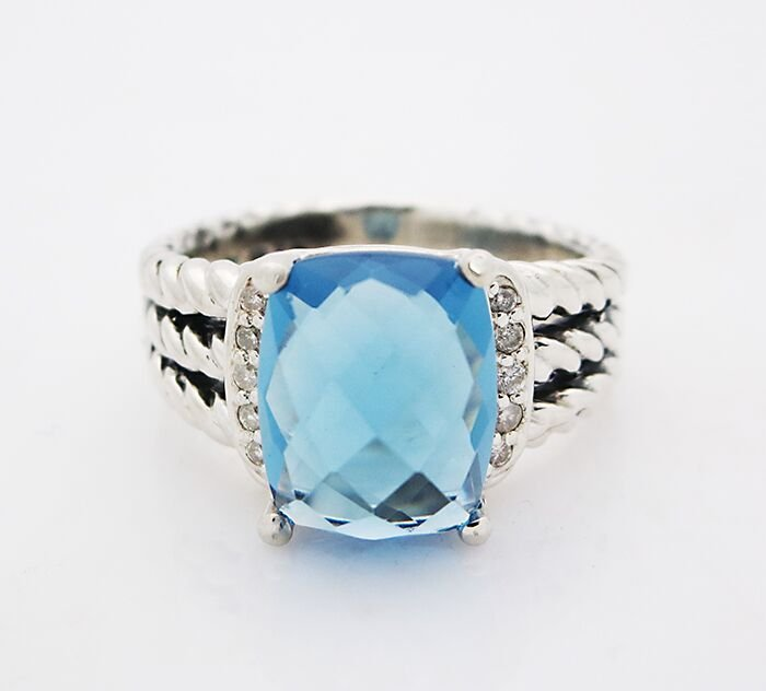 David Yurman Wheaton Ring Hampton Blue Topaz & Diamonds