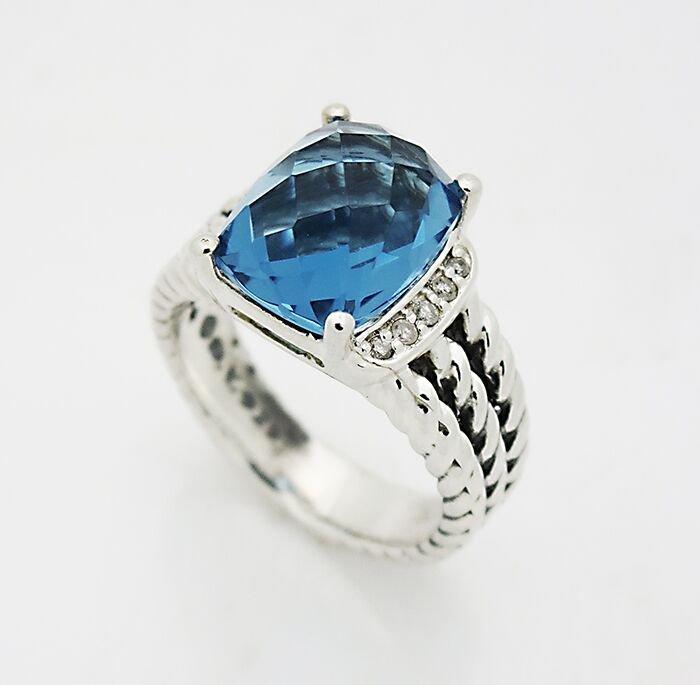 David Yurman Wheaton Ring Hampton Blue Topaz & Diamonds - 3