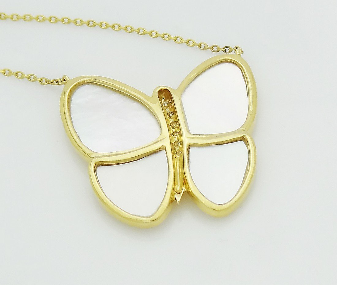 Van Cleef Arpels 18k Diamond Butterfly Pendant Necklace