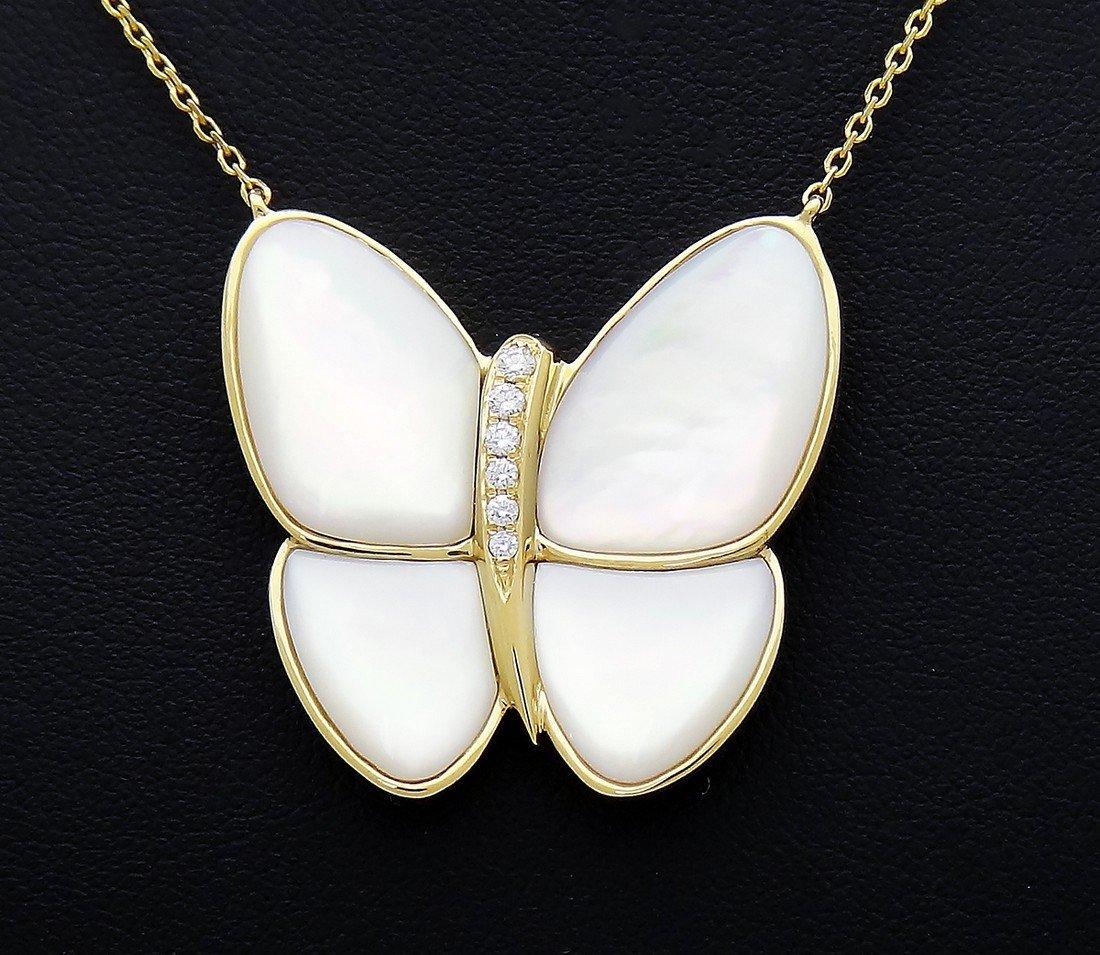 Van Cleef Arpels 18k Diamond Butterfly Pendant Necklace - 3