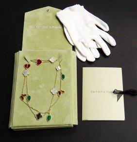 Van Cleef Arpels 18k Lucky Alhambra 12 Motifs Necklace