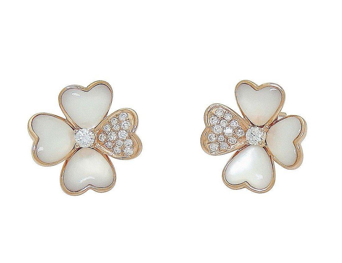 Van Cleef & Arpels 18k  Diamond Pearl Cosmos Earrings