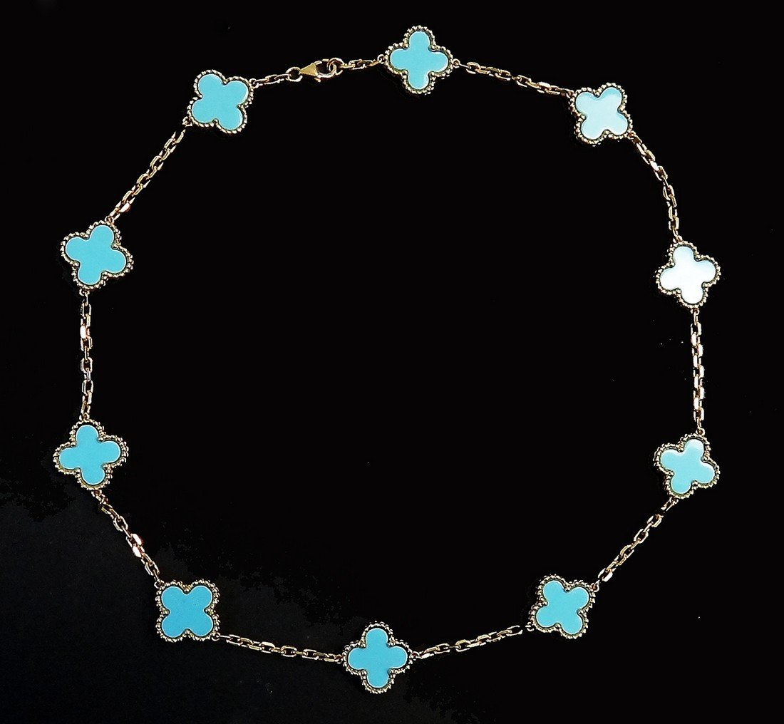 Van Cleef & Arpels 18K Gold Turquoise Alhambra Necklace