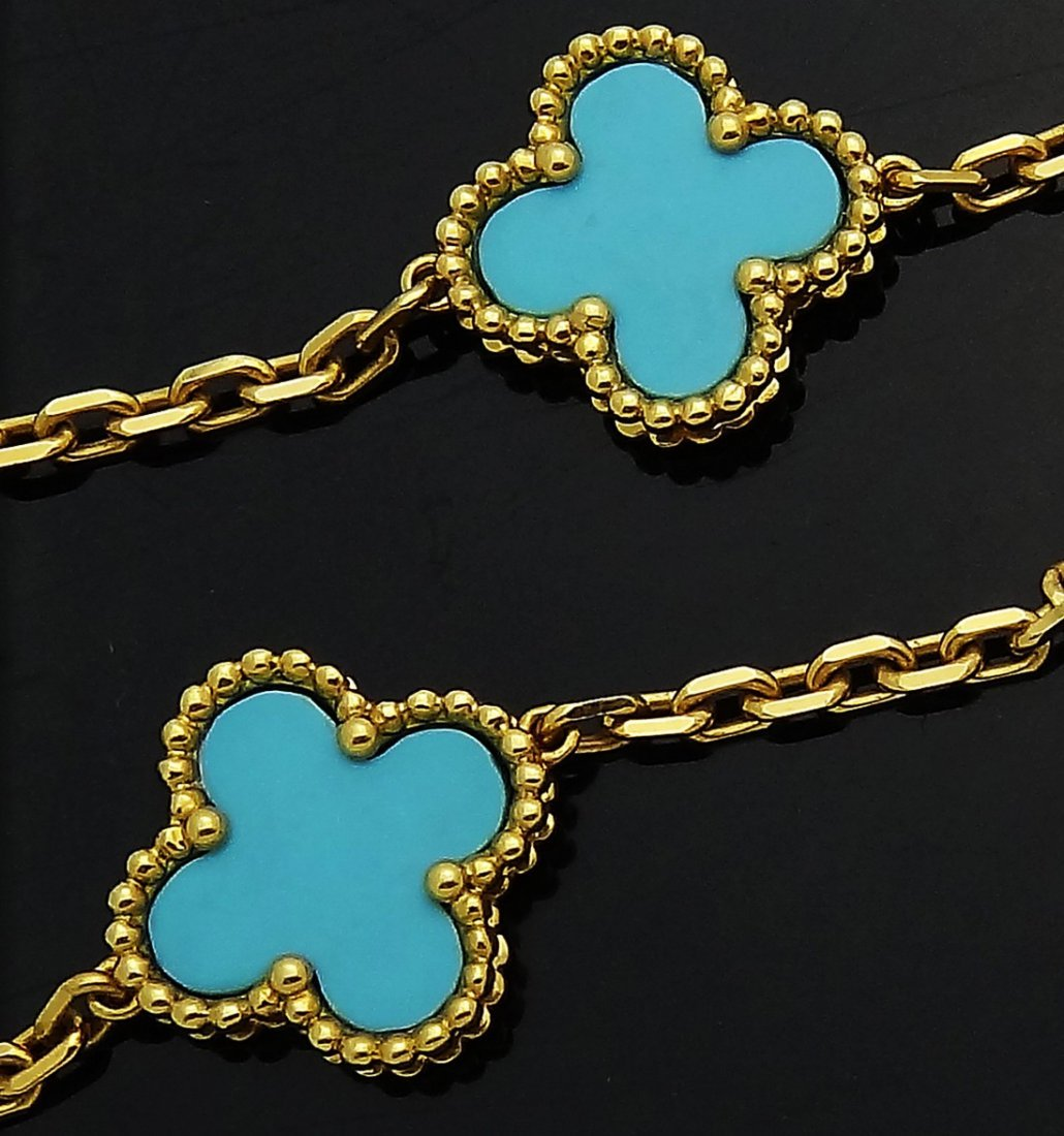 Van Cleef & Arpels 18K Gold Turquoise Alhambra Necklace - 3