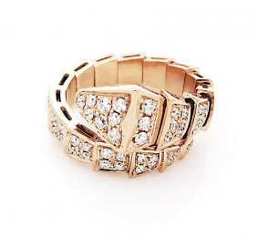 Bulgari 18k Gold Pave Diamond Serpenti Ring
