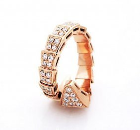 Bulgari 18k Gold Pave Diamond Serpenti Ring - 3
