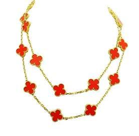 Van Cleef Alhambra 18K Gold Coral 20 Motifs Necklace