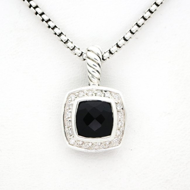 David Yurman Petite Albion Pendant Necklace Onyx