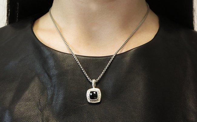 David Yurman Petite Albion Pendant Necklace Onyx - 6