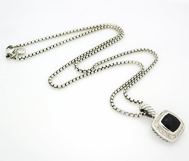 David Yurman Petite Albion Pendant Necklace Onyx - 7