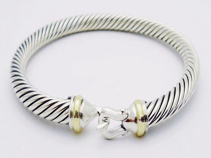 David Yurman 925 Silver Cable Bracelet & 18K Gold