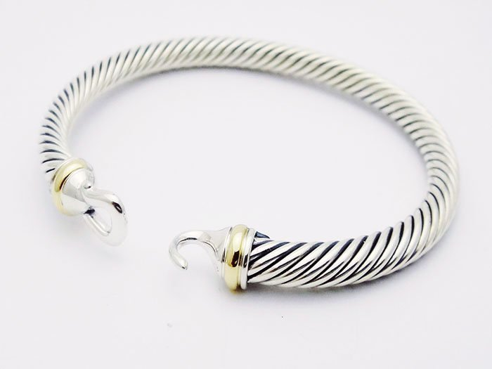 David Yurman 925 Silver Cable Bracelet & 18K Gold - 2