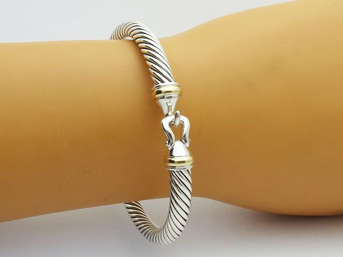 David Yurman 925 Silver Cable Bracelet & 18K Gold - 4