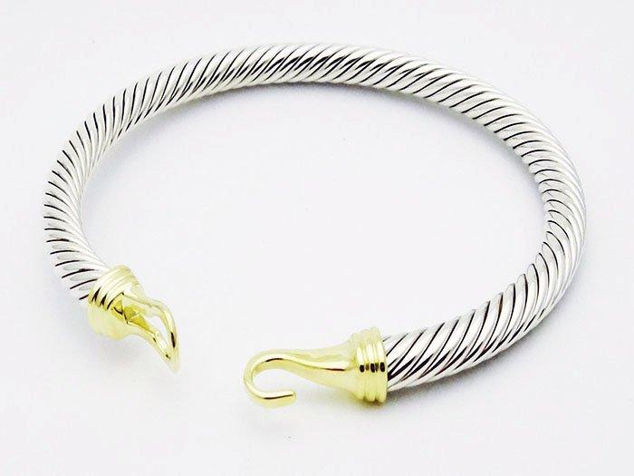 David Yurman 925 Silver Cable Buckle Bracelet 14K Gold - 3