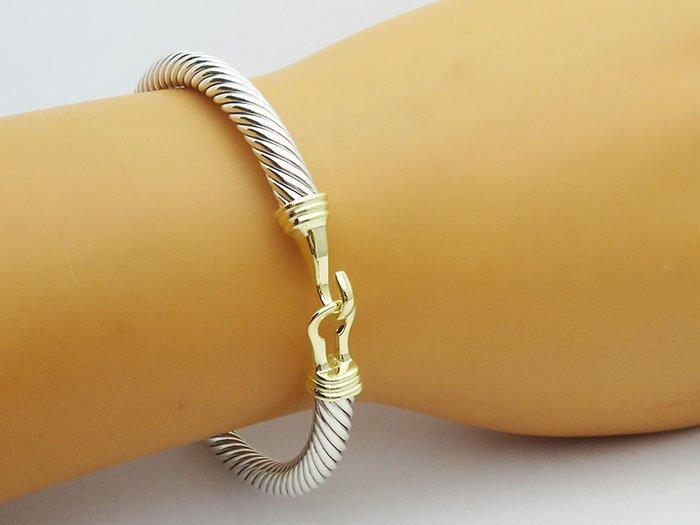 David Yurman 925 Silver Cable Buckle Bracelet 14K Gold - 5