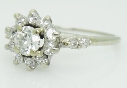 Estate 18k White Gold & 0.60ct TCW VS SI Diamond Ring