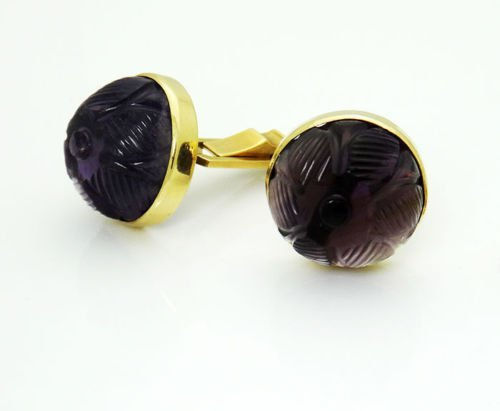 14k Yellow Gold Curved Amethyst Vintage Cufflinks