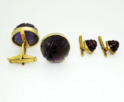 14k Yellow Gold Curved Amethyst Vintage Cufflinks - 2