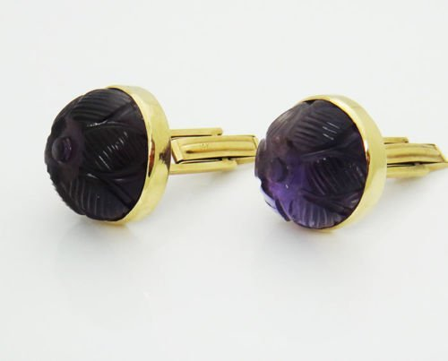 14k Yellow Gold Curved Amethyst Vintage Cufflinks - 4