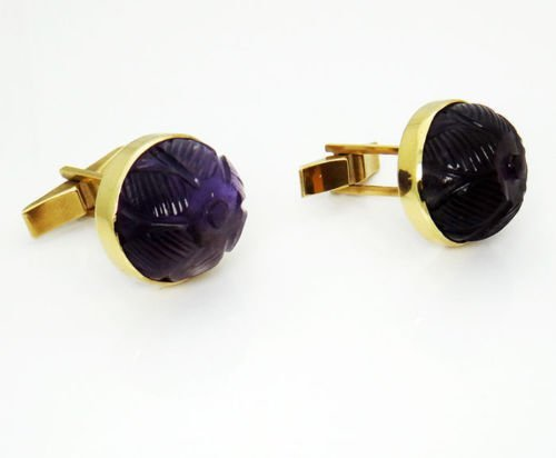 14k Yellow Gold Curved Amethyst Vintage Cufflinks - 5