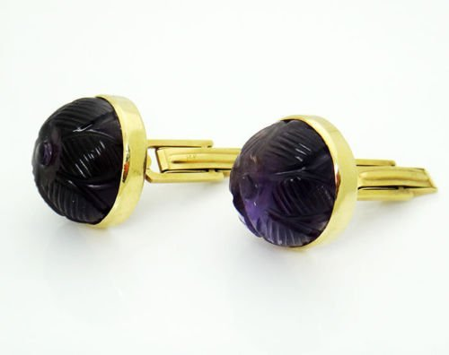 14k Yellow Gold Curved Amethyst Vintage Cufflinks - 6