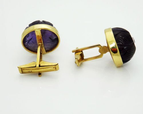 14k Yellow Gold Curved Amethyst Vintage Cufflinks - 7