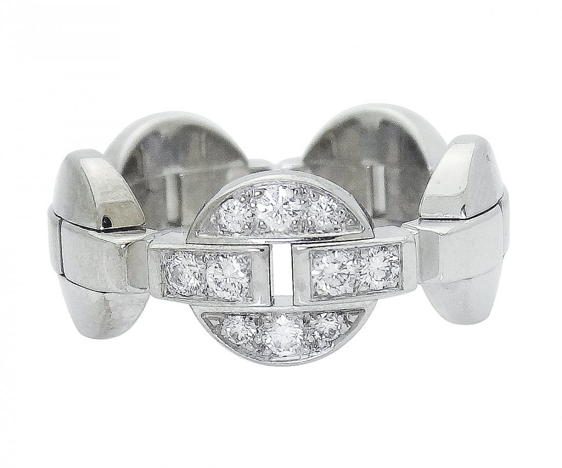 Cartier 18K White Gold Diamond Ring 55 size