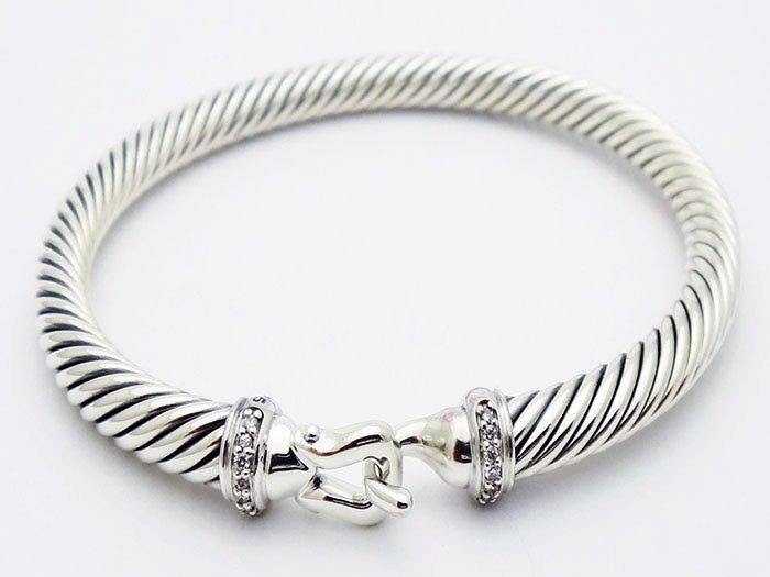 David Yurman 925 Silver Bracelet & Pave Diamonds