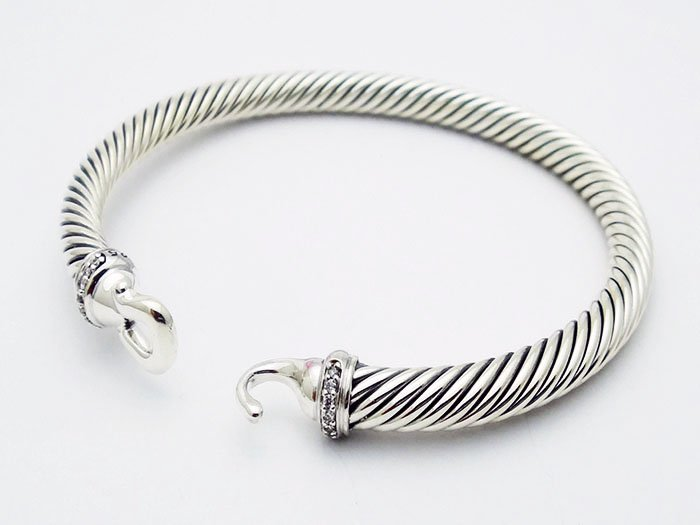 David Yurman 925 Silver Bracelet & Pave Diamonds - 2