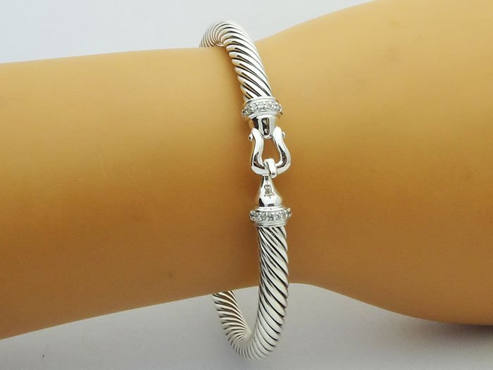 David Yurman 925 Silver Bracelet & Pave Diamonds - 4
