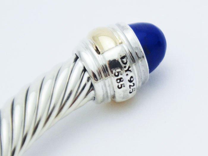 David Yurman 925 Silver Cable Bracelet Lapis Lazuli 14K - 2
