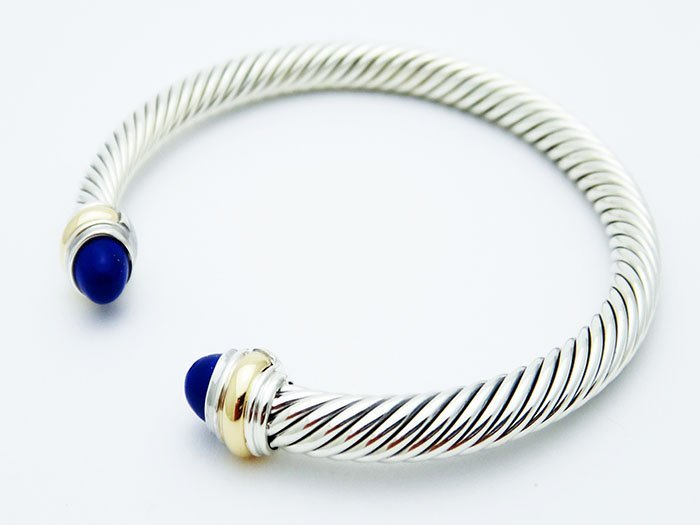 David Yurman 925 Silver Cable Bracelet Lapis Lazuli 14K - 3