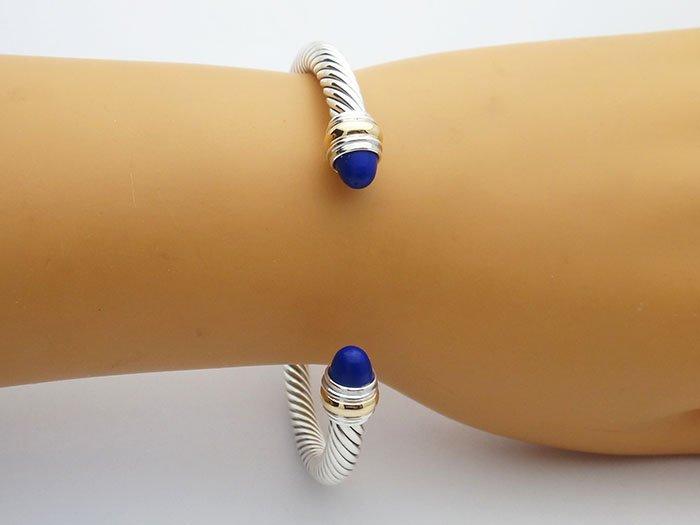 David Yurman 925 Silver Cable Bracelet Lapis Lazuli 14K - 4