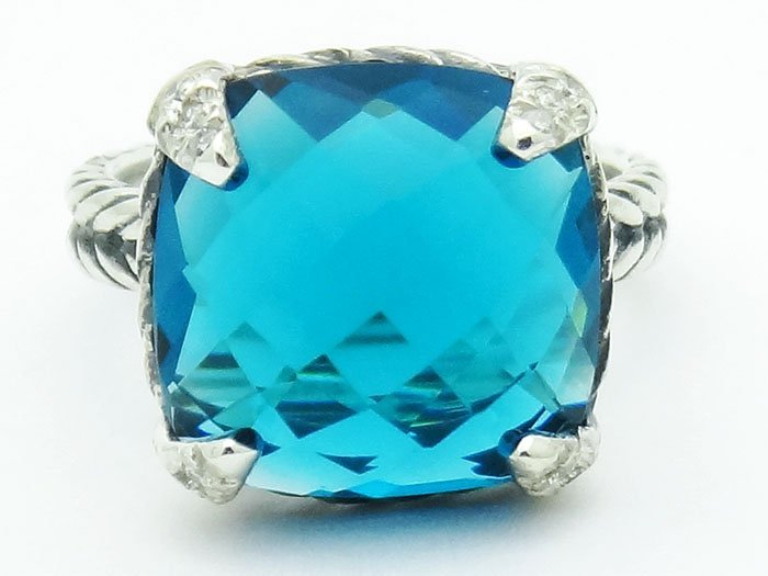 David Yurman  Chatelaine Ring Blue Topaz & Diamonds 925