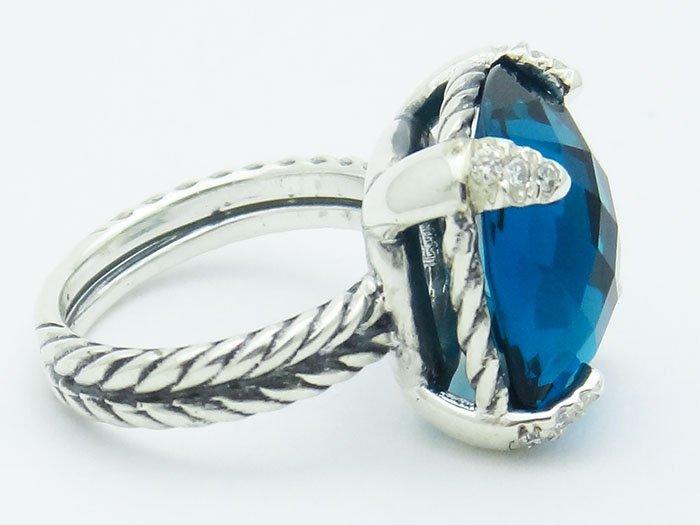 David Yurman  Chatelaine Ring Blue Topaz & Diamonds 925 - 3