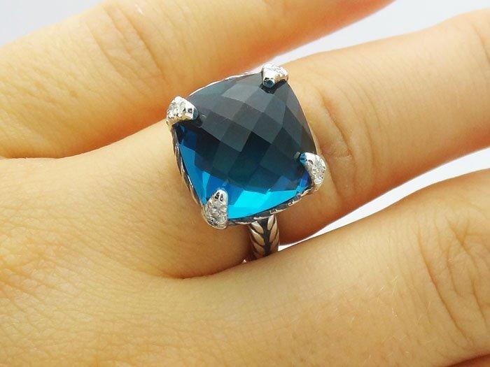 David Yurman  Chatelaine Ring Blue Topaz & Diamonds 925 - 5